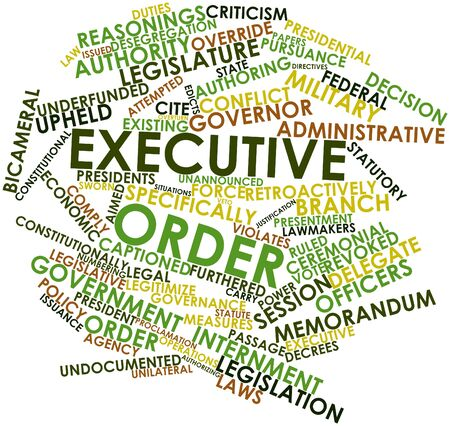 override: Abstract word cloud for Executive order with related tags and terms