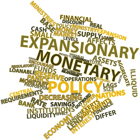 monetary policy: Abstract word cloud for Expansionary monetary policy with related tags and terms