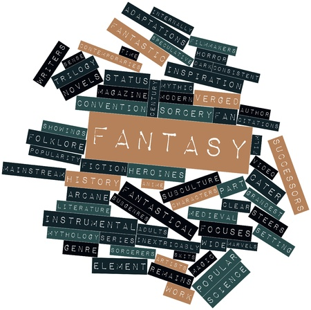 Abstract word cloud for Fantasy with related tags and terms Stok Fotoğraf