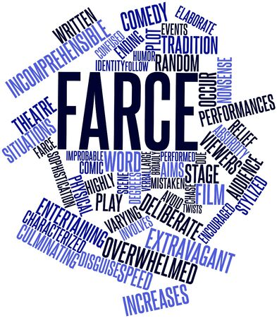 encouraged: Abstract word cloud for Farce with related tags and terms Stock Photo