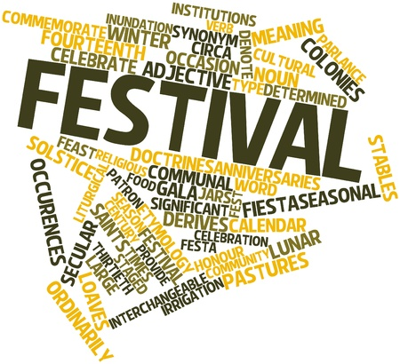 derives: Abstract word cloud for Festival with related tags and terms