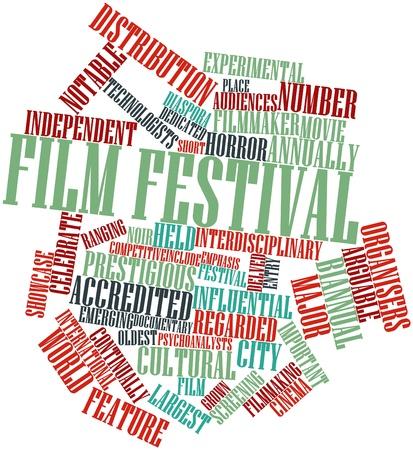 commonplace: Word cloud astratto per il Festival del Cinema con tag correlati e termini Archivio Fotografico