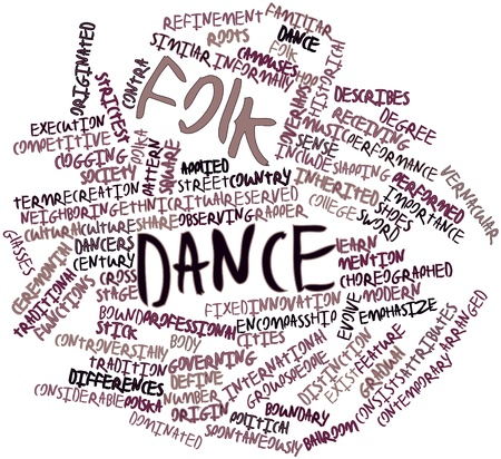 neighboring: Abstract word cloud for Folk dance with related tags and terms Stock Photo