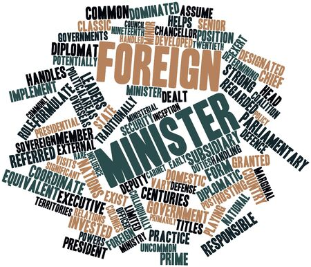 determining: Nube palabra abstracta para ministro de Asuntos Exteriores con las etiquetas y t�rminos relacionados