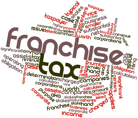 net worth: Abstract word cloud for Franchise tax with related tags and terms