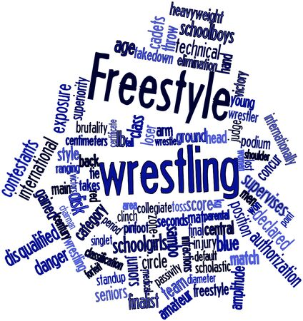 Abstract word cloud for Freestyle wrestling with related tags and terms photo