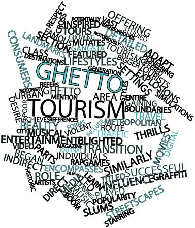 potentially: Abstract word cloud for Ghetto tourism with related tags and terms Stock Photo