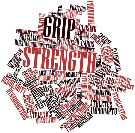 circuses: Abstract word cloud for Grip strength with related tags and terms Stock Photo