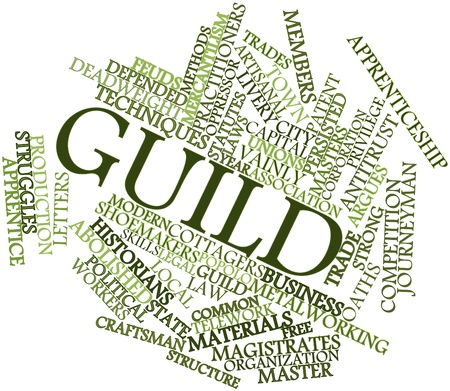 depended: Abstract word cloud for Guild with related tags and terms