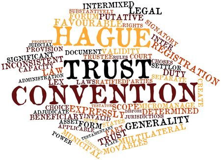 municipal court: Abstract word cloud for Hague Trust Convention with related tags and terms