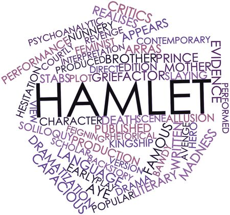 demented: Abstract word cloud for Hamlet with related tags and terms Stock Photo