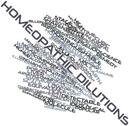 pseudoscience: Abstract word cloud for Homeopathic dilutions with related tags and terms