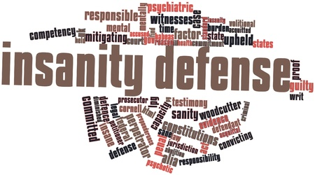 pg: Abstract word cloud for Insanity defense with related tags and terms