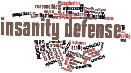 insanity: Nube palabra abstracta para la defensa Insanity con etiquetas y t�rminos relacionados Foto de archivo