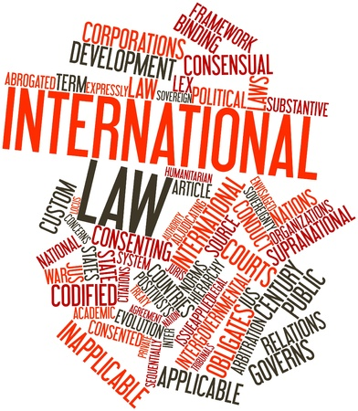 international law: Abstract word cloud for International law with related tags and terms Stock Photo