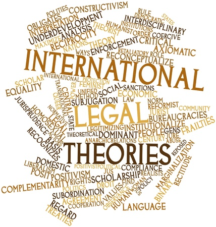 Abstract word cloud for International legal theories with related tags and terms Stock Photo