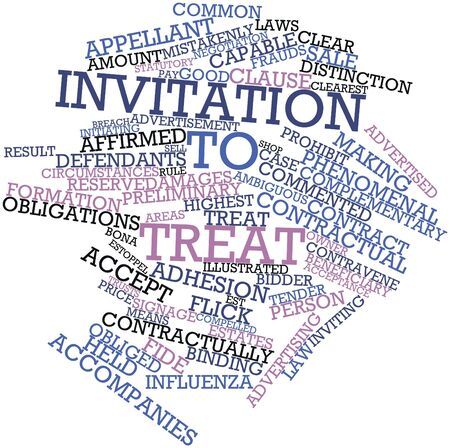 Abstract word cloud for Invitation to treat with related tags and terms Stock Photo - 16774220