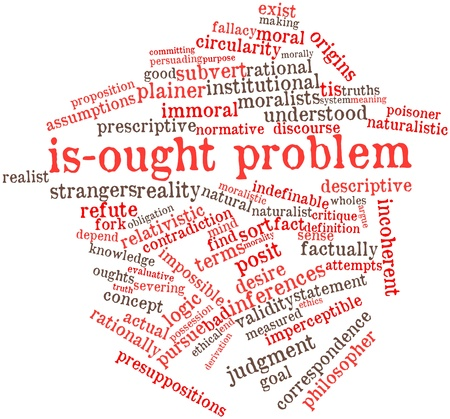 wholes: Abstract word cloud for Is-ought problem with related tags and terms