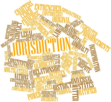 discretion: Abstract word cloud for Jurisdiction with related tags and terms Stock Photo