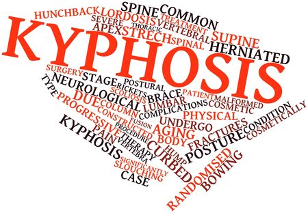 invasive: Abstract word cloud for Kyphosis with related tags and terms Stock Photo