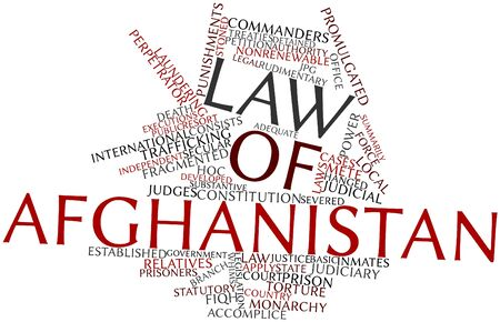 promulgated: Abstract word cloud for Law of Afghanistan with related tags and terms Stock Photo