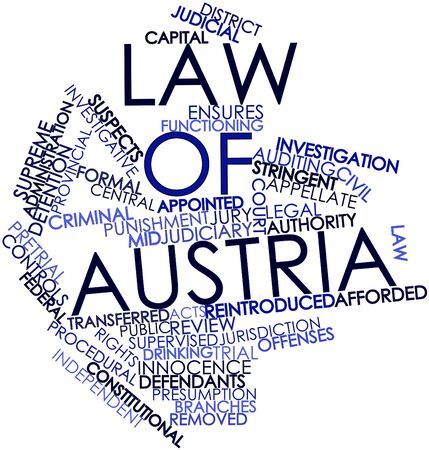ensures: Abstract word cloud for Law of Austria with related tags and terms Stock Photo