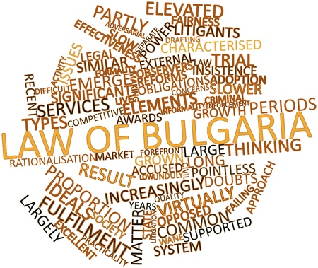 characterised: Abstract word cloud for Law of Bulgaria with related tags and terms Stock Photo