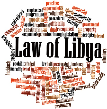 recognised: Abstract word cloud for Law of Libya with related tags and terms