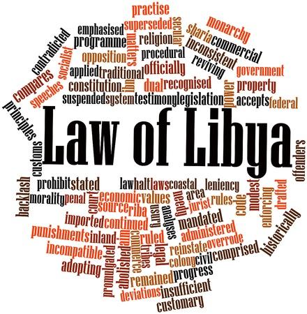 comprised: Word cloud astratto per legge della Libia con tag correlati e termini