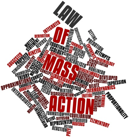 aqueous: Abstract word cloud for Law of mass action with related tags and terms Stock Photo