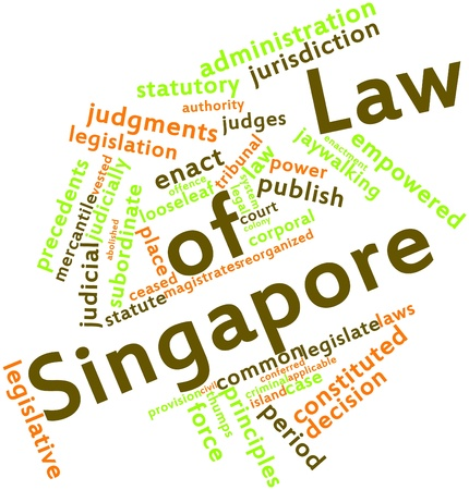 looseleaf: Abstract word cloud for Law of Singapore with related tags and terms Stock Photo