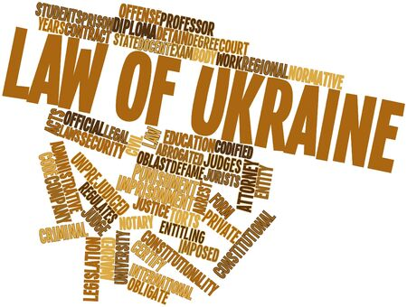 jurists: Abstract word cloud for Law of Ukraine with related tags and terms Stock Photo