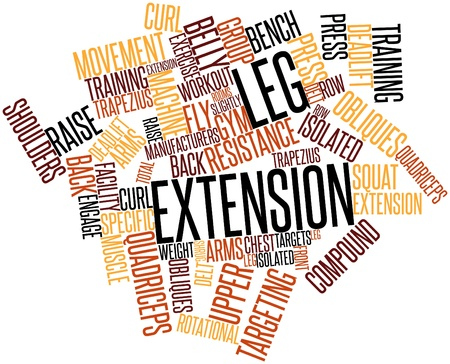 Abstract word cloud for Leg extension with related tags and terms Stock Photo - 16773873