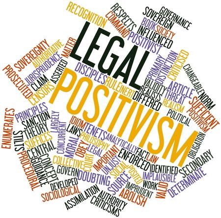 positivism: Nube palabra abstracta para el positivismo jur�dico con las etiquetas y t�rminos relacionados
