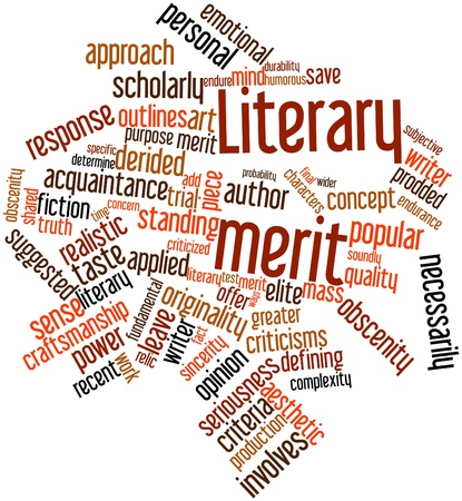 literary: Abstract word cloud for Literary merit with related tags and terms