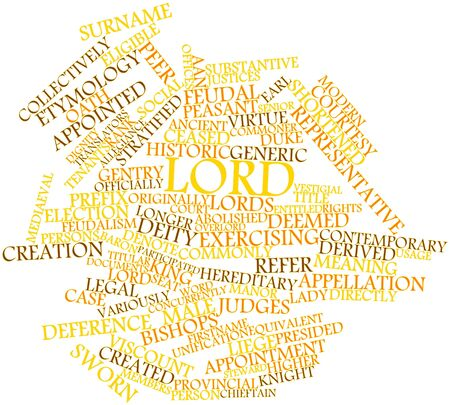 deemed: Abstract word cloud for Lord with related tags and terms Stock Photo