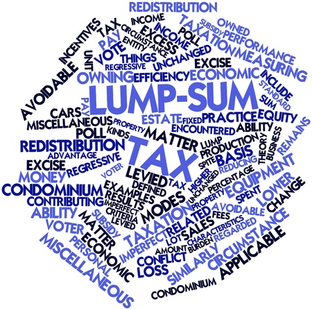 Abstract word cloud for Lump-sum tax with related tags and terms Stock Photo - 16774635