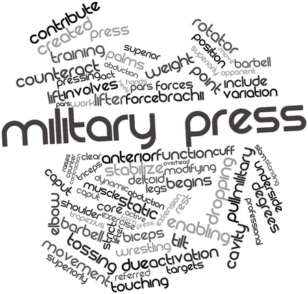 underside: Abstract word cloud for Military press with related tags and terms
