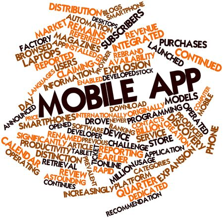 mobile app: Abstract word cloud for Mobile app with related tags and terms