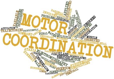 coordinacion: Nube palabra abstracta para la coordinaci�n motora con etiquetas y t�rminos relacionados