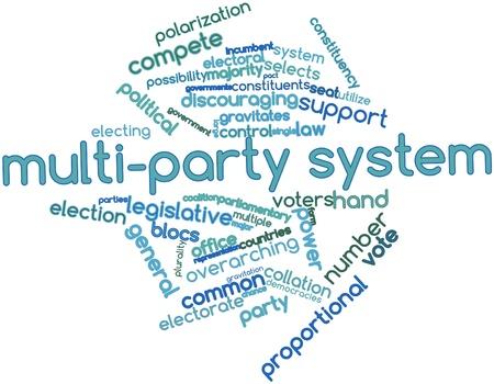Nube palabra abstracta por un sistema multipartidista con etiquetas y términos relacionados Foto de archivo