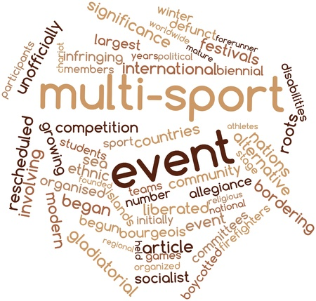liberated: Abstract word cloud for Multi-sport event with related tags and terms Stock Photo