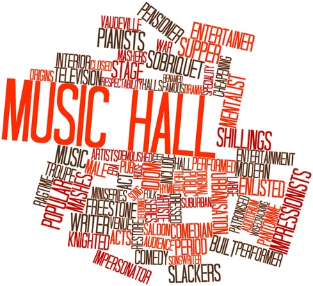 Abstract word cloud for Music hall with related tags and terms