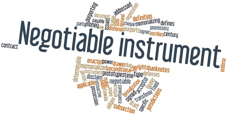 signer: Abstract word cloud for Negotiable instrument with related tags and terms Stock Photo