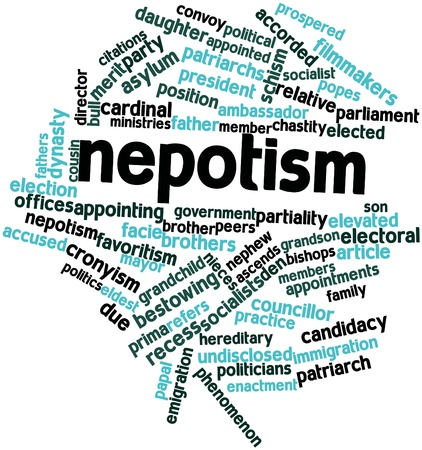 animal den: Abstract word cloud for Nepotism with related tags and terms