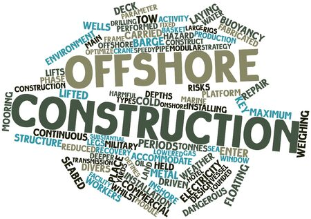 weather terms: Abstract word cloud for Offshore construction with related tags and terms