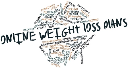 weight loss plan: Abstract word cloud for Online weight loss plans with related tags and terms Stock Photo