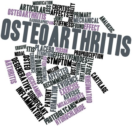 osteo: Abstract word cloud for Osteoarthritis with related tags and terms Stock Photo