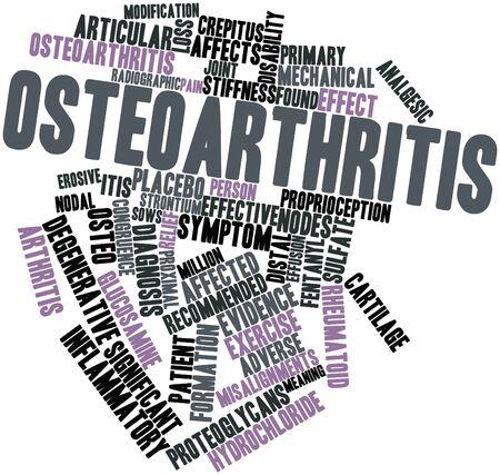 tendones: Nube palabra abstracta para la osteoartritis con etiquetas y t�rminos relacionados Foto de archivo