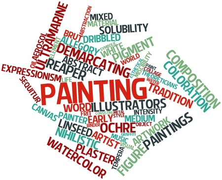 representational: Abstract word cloud for Painting with related tags and terms
